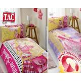 Комплект постельного белья TAC Disney Barbie Charm School с простыней на резинке